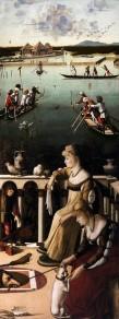 Vittore_carpaccio,_due_dame_veneziane_e_caccia_in_laguna